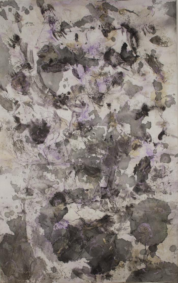 Fleur 2 2009, inks, acrylic, Japanese paper, laid down on canvas, 116x73cm.