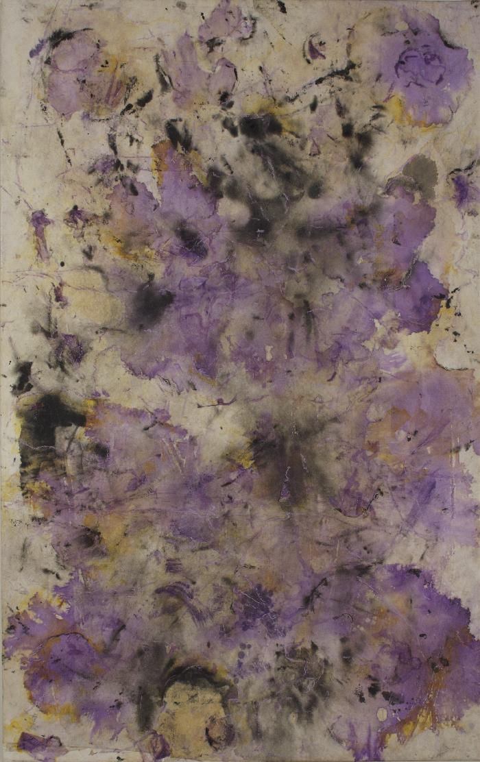Fleur 1 2009, inks, acrylic, Japanese paper, laid down on canvas, 116x73cm.