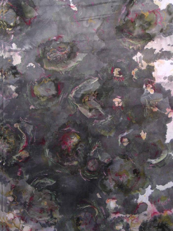 Fleur 3 2009, inks, acrylic, Japanese paper, laid down on canvas, 116x73cm.