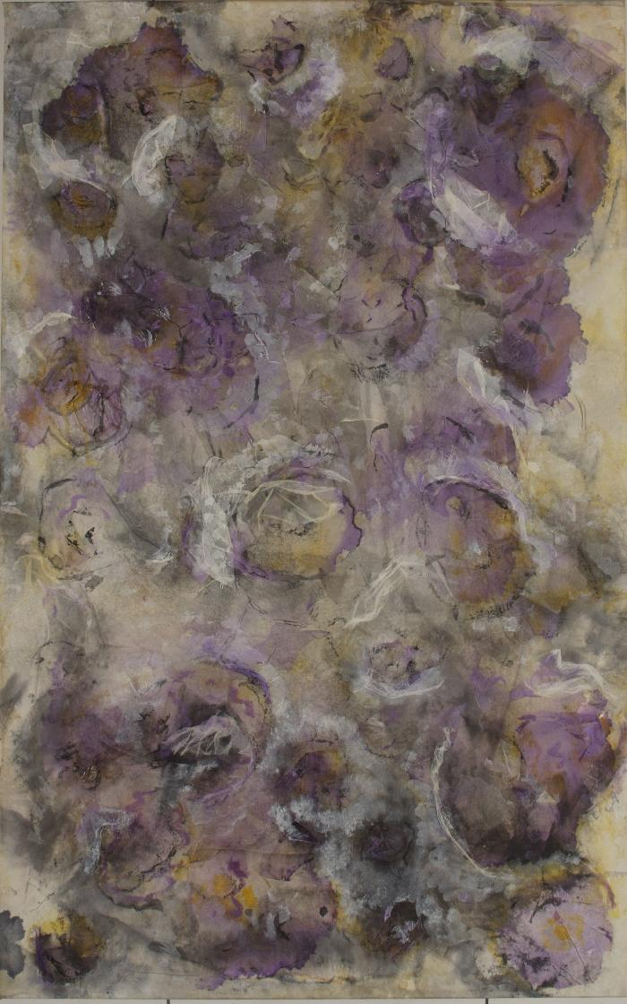 Fleur 4 2009, inks, acrylic, Japanese paper, laid down on canvas, 116x73cm.